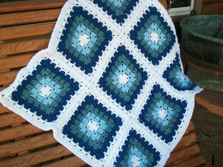Baby Boy Blanket/Afghan Hand Crocheted 3 Shades Of Blue Yarns White ...