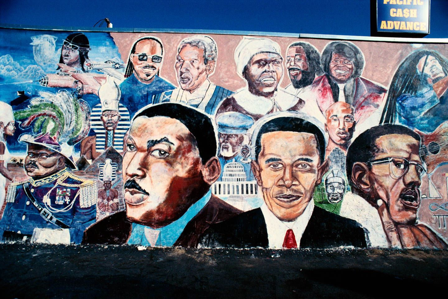 MLK Jr., Obama and Malcolm X mural by Shyaan Khufu, Master Burger, 4423 S. Western Ave., L. A. 2010
