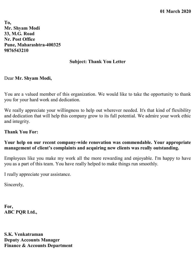 Download Employee Thank You Letter Excel Template Employee Thank