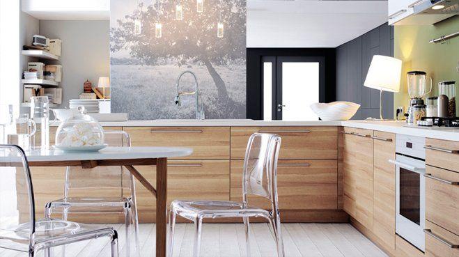Cuisine Blanche Rouge Et Grise  La cuisine moderne est en bois