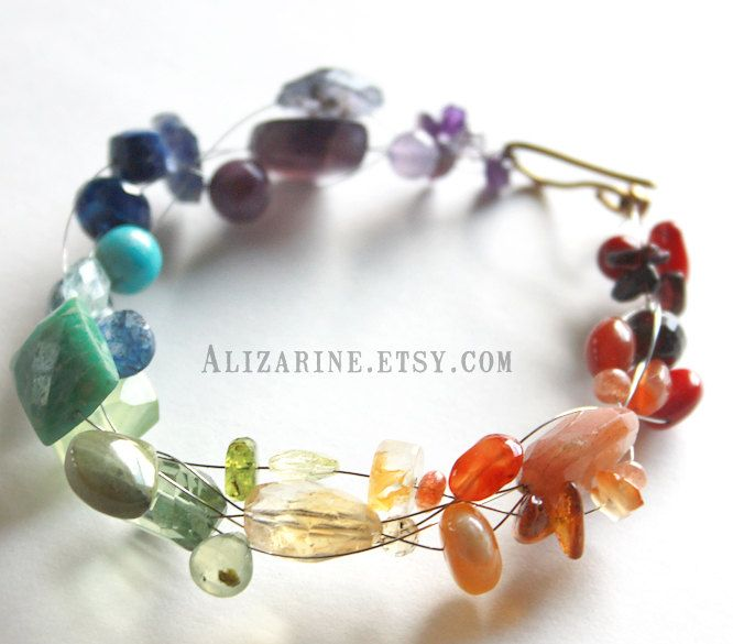 Rainbow - gemstone and recycled guitar string bracelet by Strung-Out.