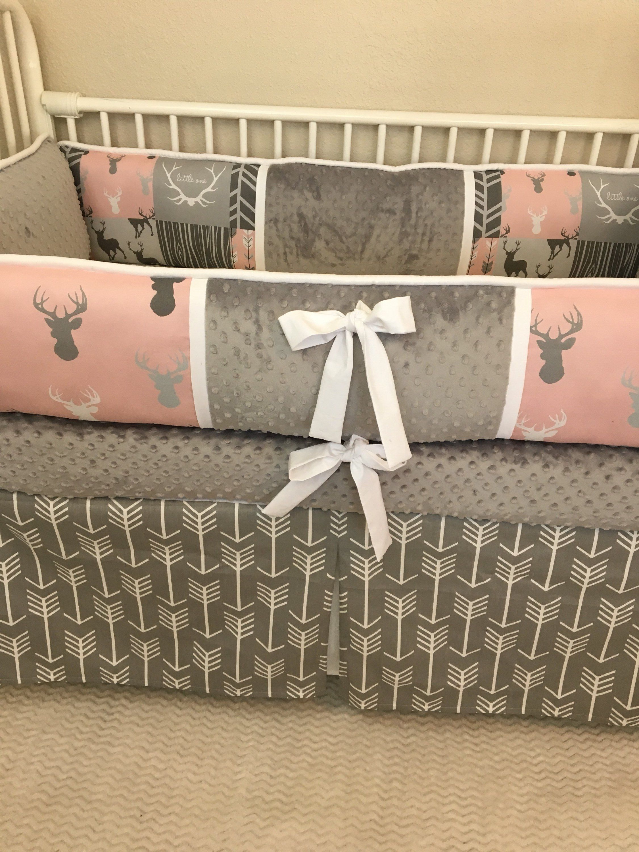 Blush Pink gray deer buck woodland baby bumper bedding