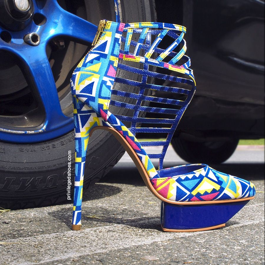 Put your blue suede shoes to rest and grab a pair of these half caged Multi Blue high heels! The color combo is perfect for those spring nights sipping wine beachside.   Style name is TAKE ME OUT.