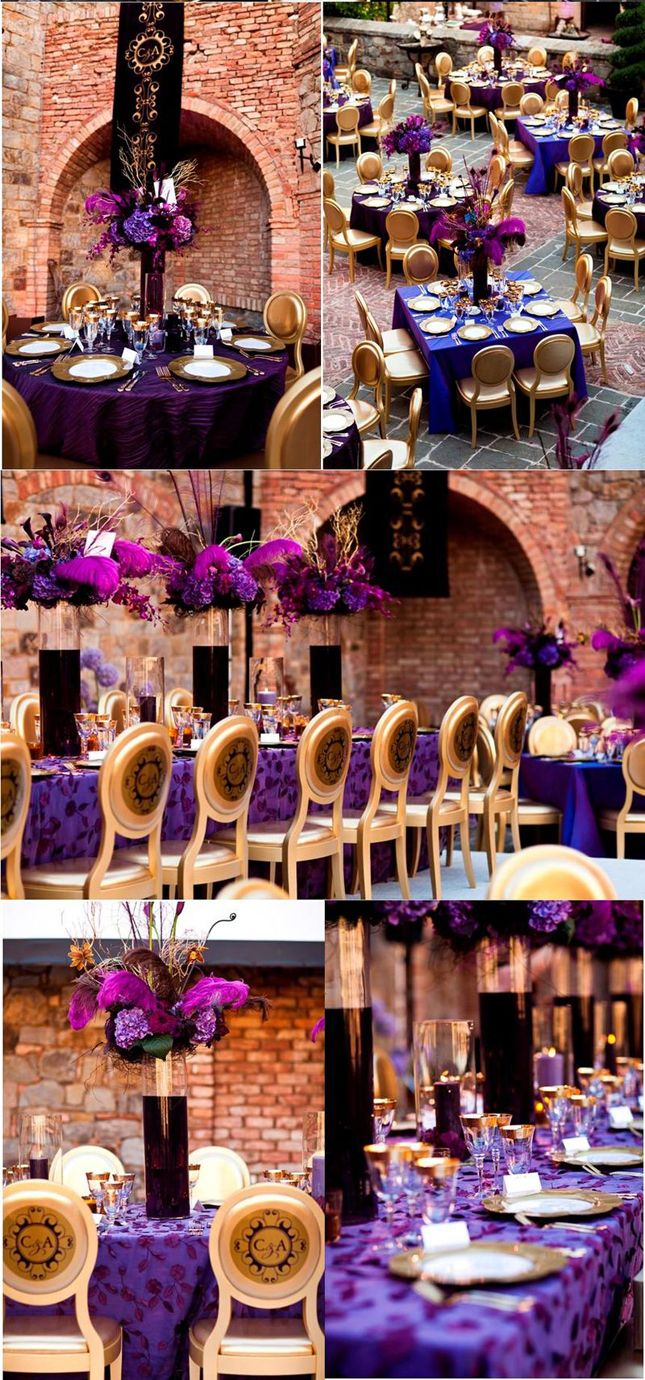 Wedding Inspiration: Stunning Purple + Gold Decor | Purple gold ...