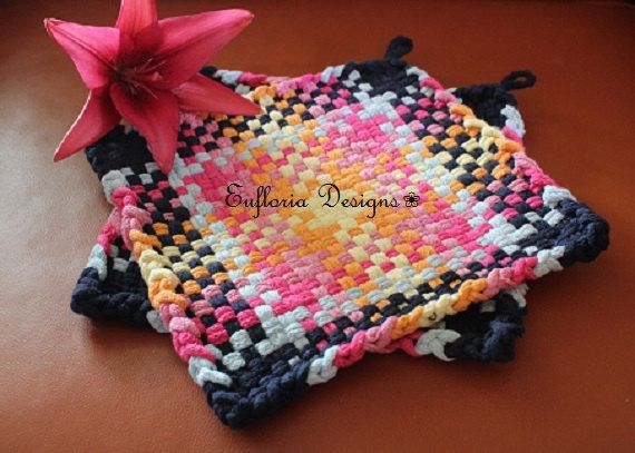 Woven Potholders Large Woven Trivet Retro Kitchen Decor Cotton