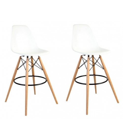 Enjoyable Set Of 2 30 Inch Dsw White Plastic Bar Stool With Wood Andrewgaddart Wooden Chair Designs For Living Room Andrewgaddartcom