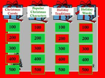 Interactive Holiday Christmas Elementary Jeopardy GamePromethean