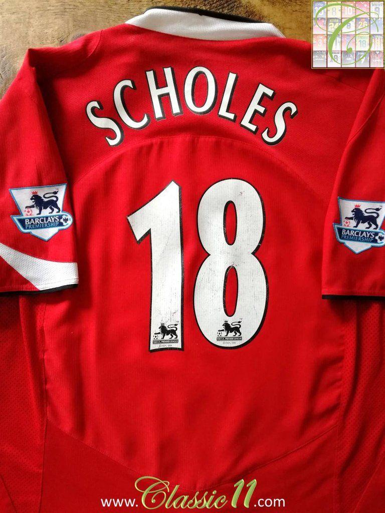 b6e1dd100 2004 05 Man Utd Home Premier League Football Shirt Scholes
