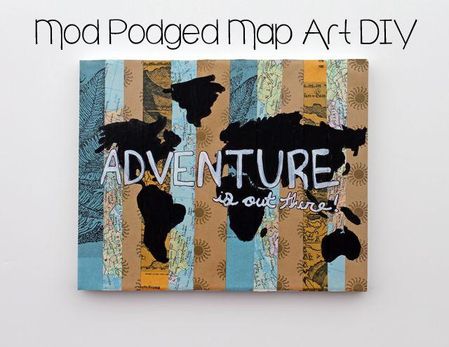 Punk projects mod podged map art diy diy pinterest explore scrapbook paper art map crafts and more gumiabroncs Images