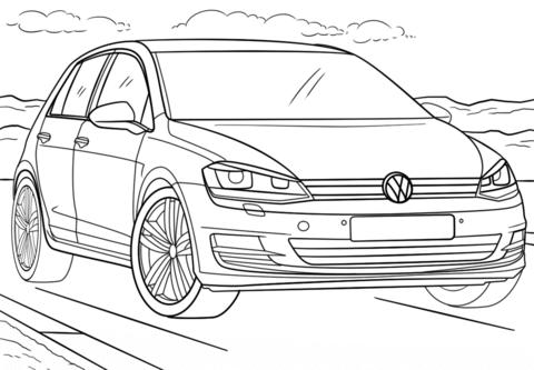 ausmalbilder autos vw golf | volkswagen golf, auto zum ausmalen, ausmalen