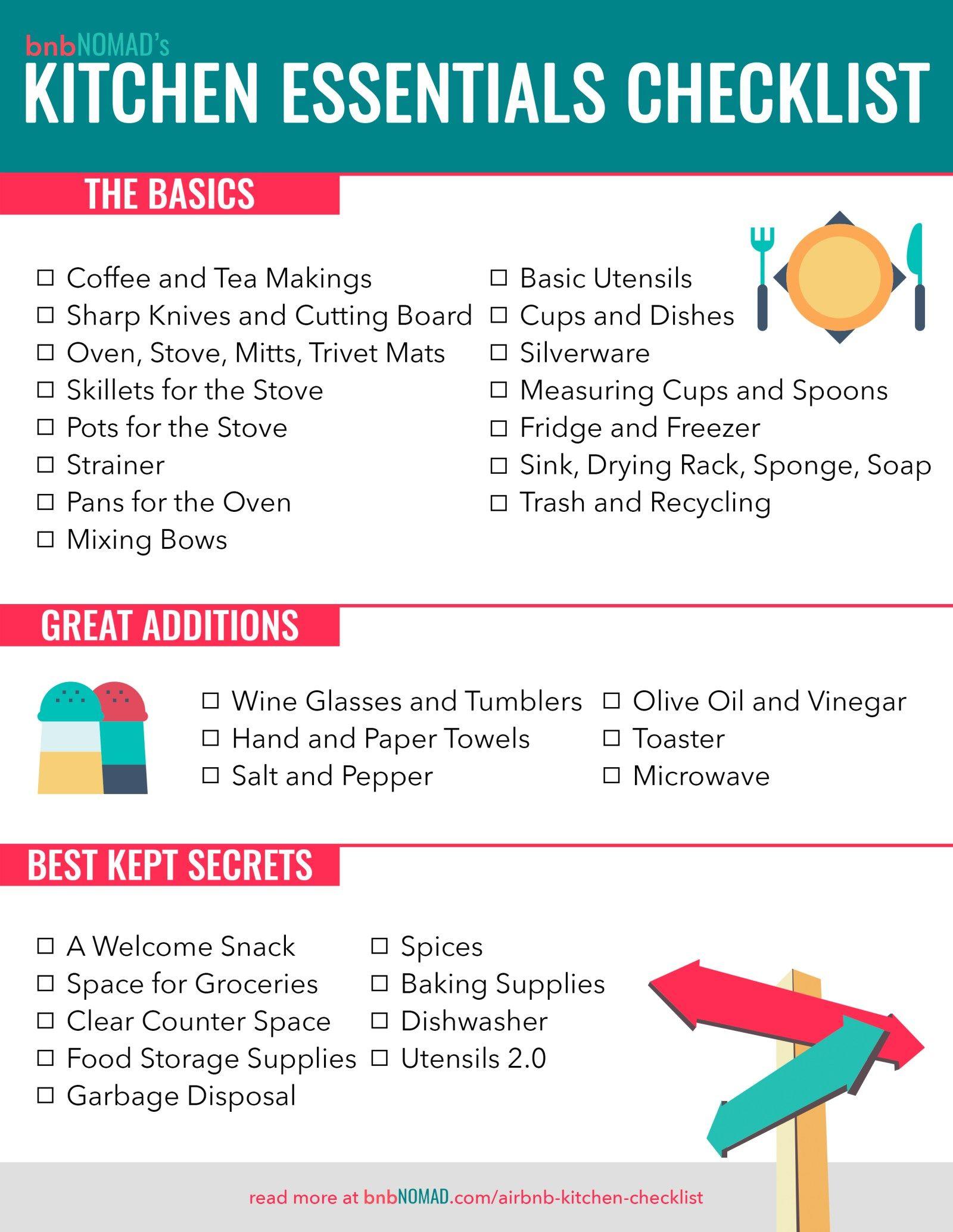 The Airbnb Host S Kitchen Essentials Checklist Kitchen Essentials Checklist Kitchen Necessities List Kitchen Essentials