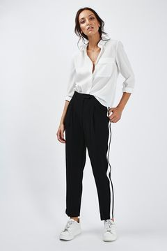 60ee99563ee709 Side Stripe Peg Trousers | // I NOIR WHITE. in 2019 | Fashion, Peg ...
