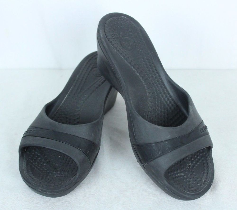 f3f827895 Crocs Black Wedge Heel Sandals Shoes Slip On Womens Size 9  Crocs  Sandals