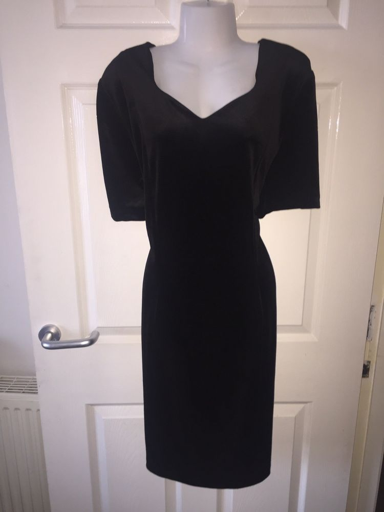 34a45099 Stunning Jin-Fizz Stretch Black Velvet Cocktail Dress 20 #fashion #clothing  #shoes #accessories #womensclothing #dresses (ebay link)