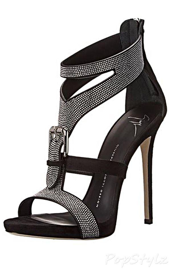Giuseppe Zanotti Silver Pave Buckle Italian Leather Dress Sandal Topuklular Ayakkabilar Bayan Ayakkabi