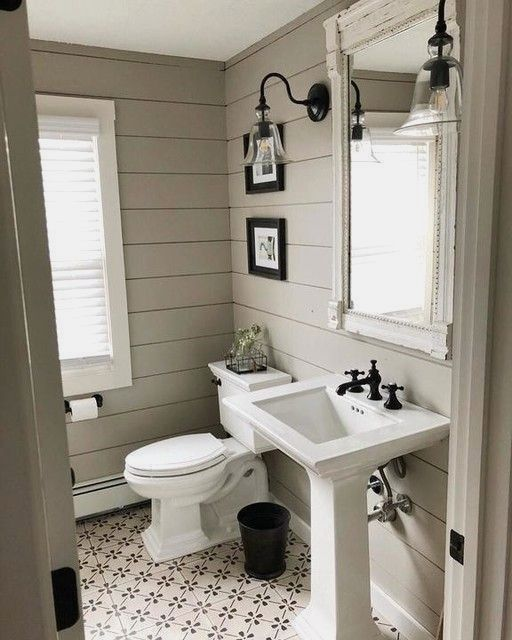 Fresh Modern Powder Room Reveal Keys To Inspiration: Rustic Glass Indoor/Outdoor Sconce In 2020