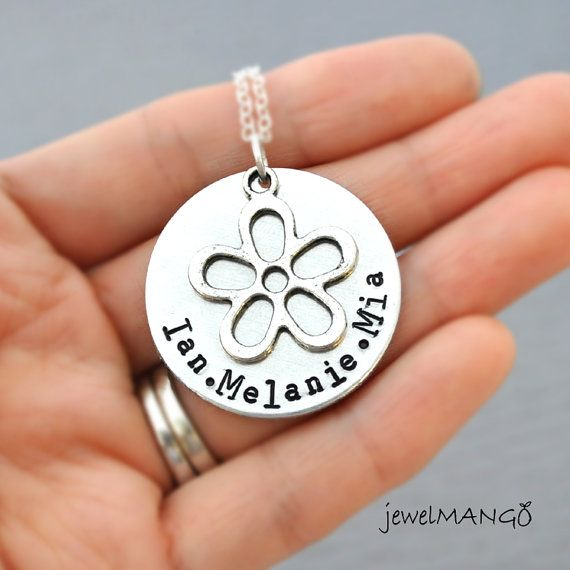 Child Name Necklace Flower necklace Hand Stamped by JewelMango, $23.80