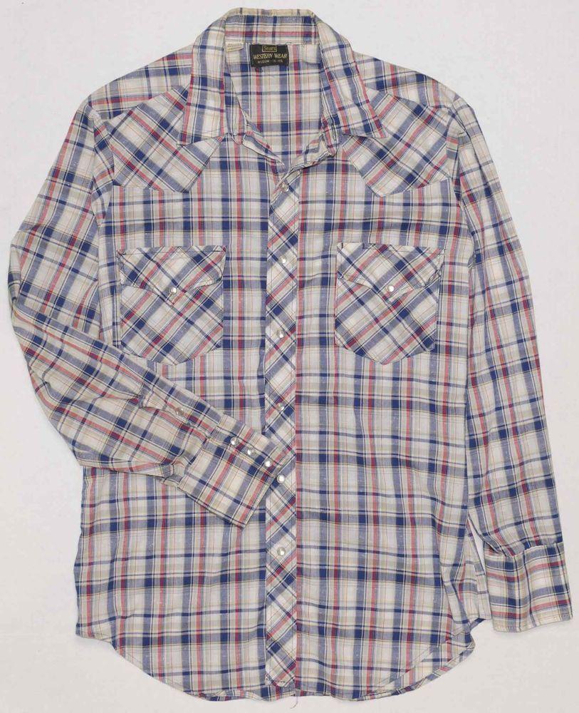 8e2674683e4f5c Vintage Sears Western Wear Men's Shirt Medium 1960's 70's Plaid Pearl Snap  15.5 #Sears #Western #Everyday