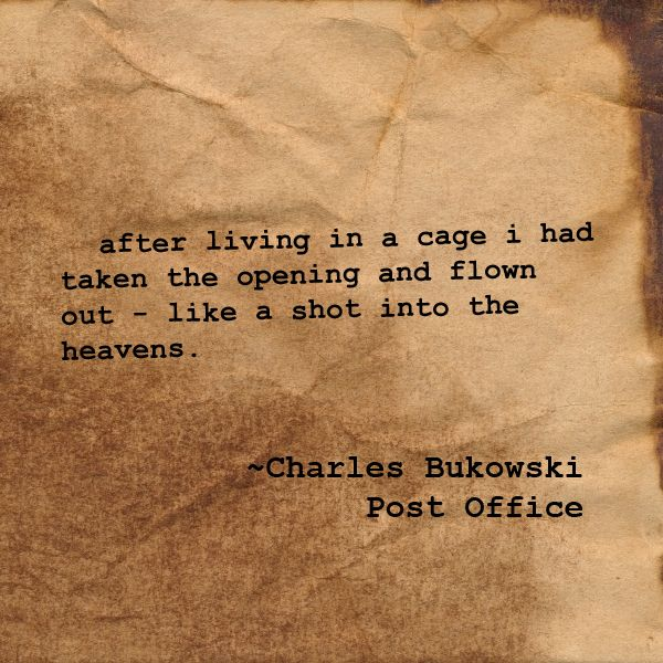 after living in a cage i had taken the opening and flown out - like a shot into the heavens. ~Charles Bukowski, Post Office