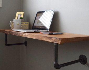 live edge floating desk shelves diy office desk diy computer rh pinterest com