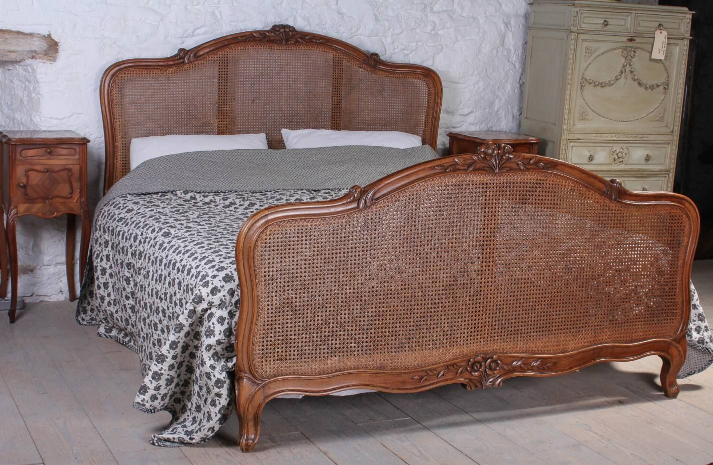 French Louis XV style caned bergere Cane bed, Super king