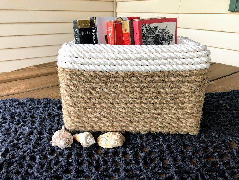 Jute And Cotton Storage Basket Multipurpose Nautical Basket