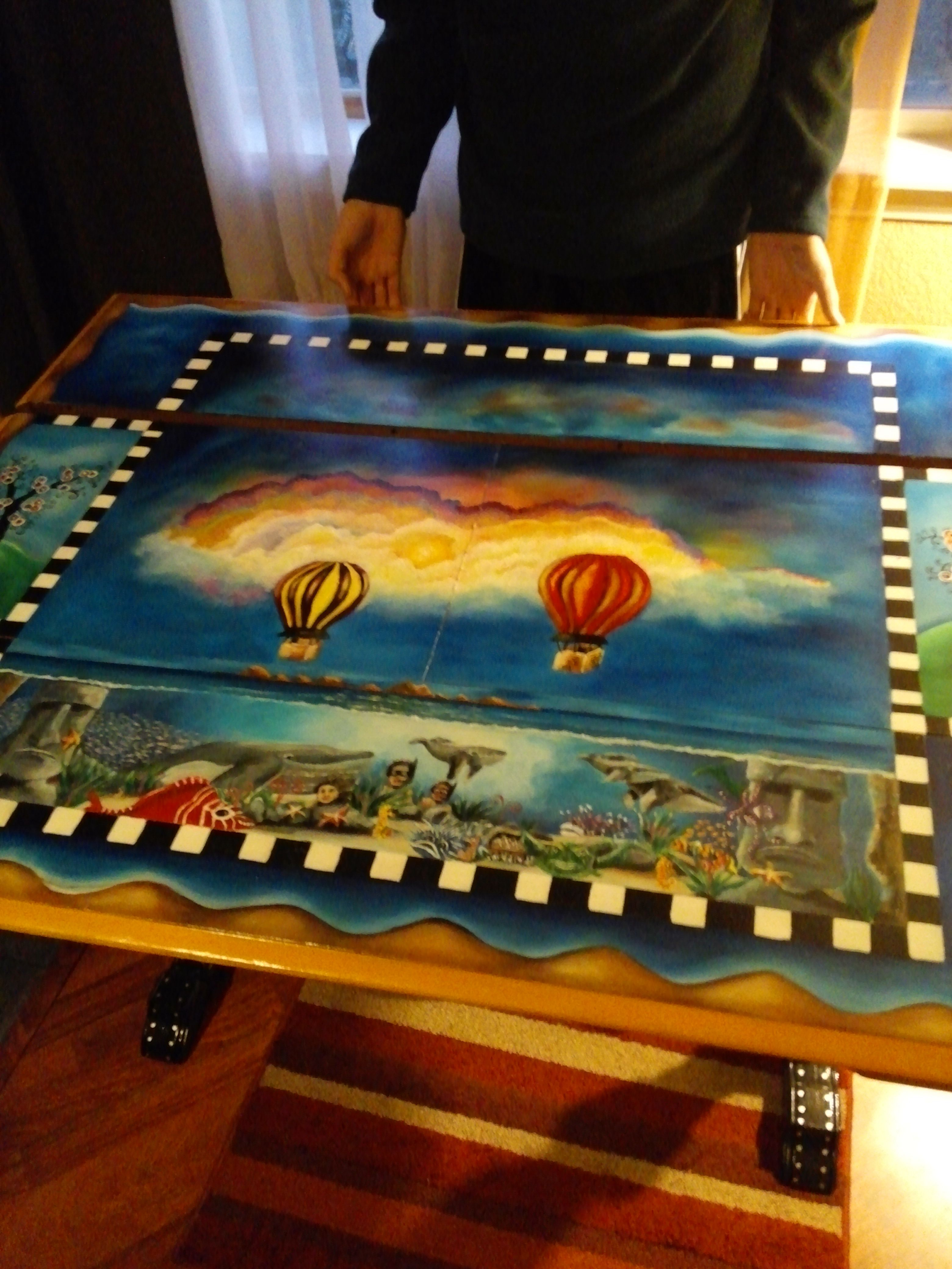 Hand Painted Repurposed Table Using Acrylic Paints Acrylic