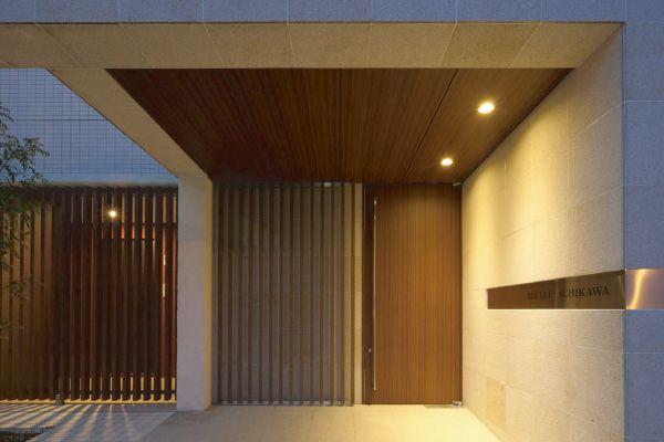 玄関 エントランス モルタル ルーバードア 塗装 サイザル麻