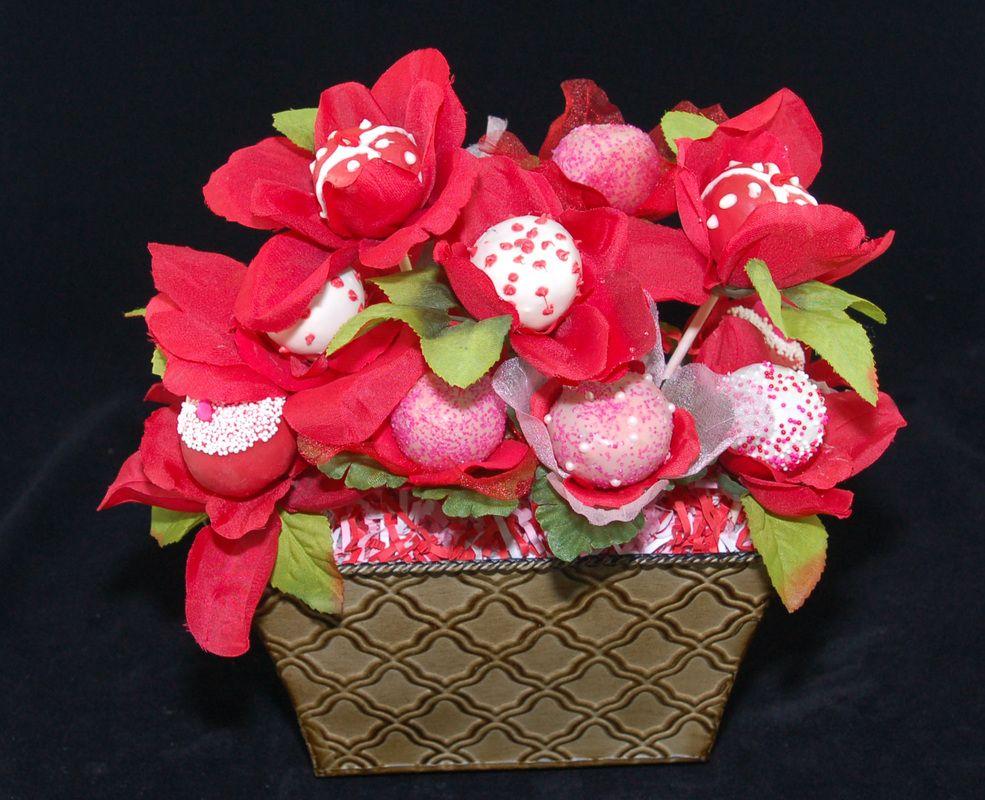 Cake Pop Flower Arrangement Flower Pops Cakes Pinterest