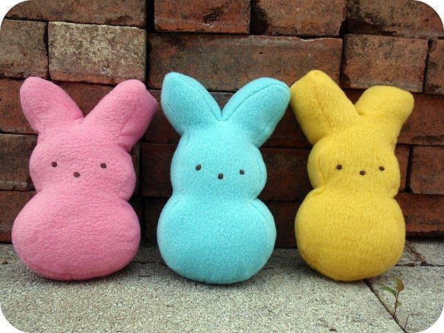 Squishy Bunny Pillow : DIY how to make a peeps plushie. perfect easter craft. E A S T E R Pinterest Easter peeps ...