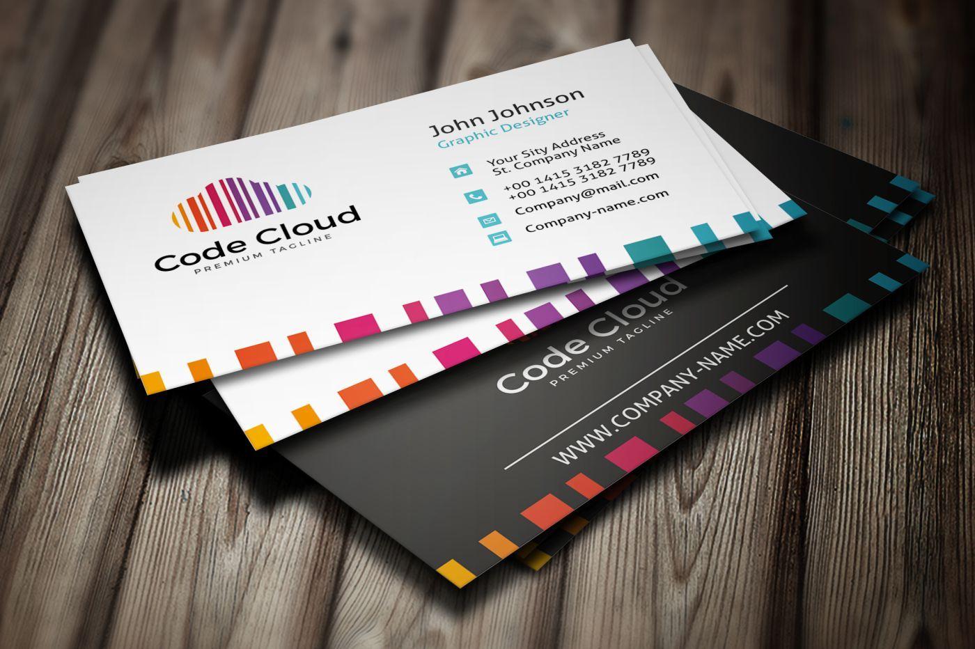 Code Cloud Business Card Corporate Identity Template Business Cards Corporate Identity Colorful Business Card Corporate Identity