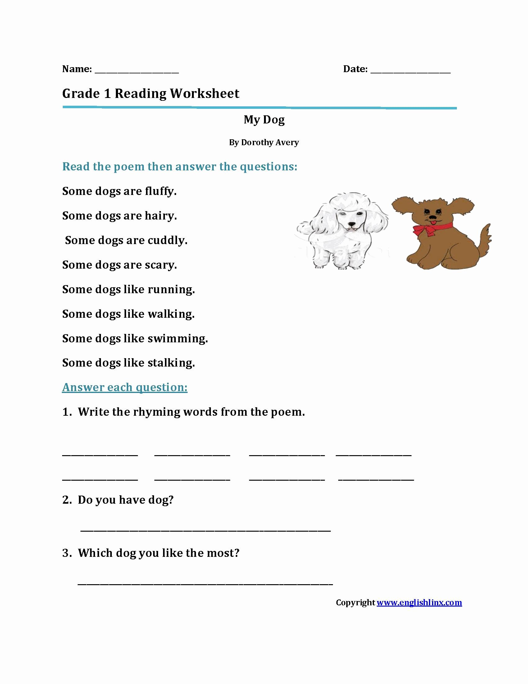 Free 1St Grade Reading Worksheets Pdf Pictures 1st Grade