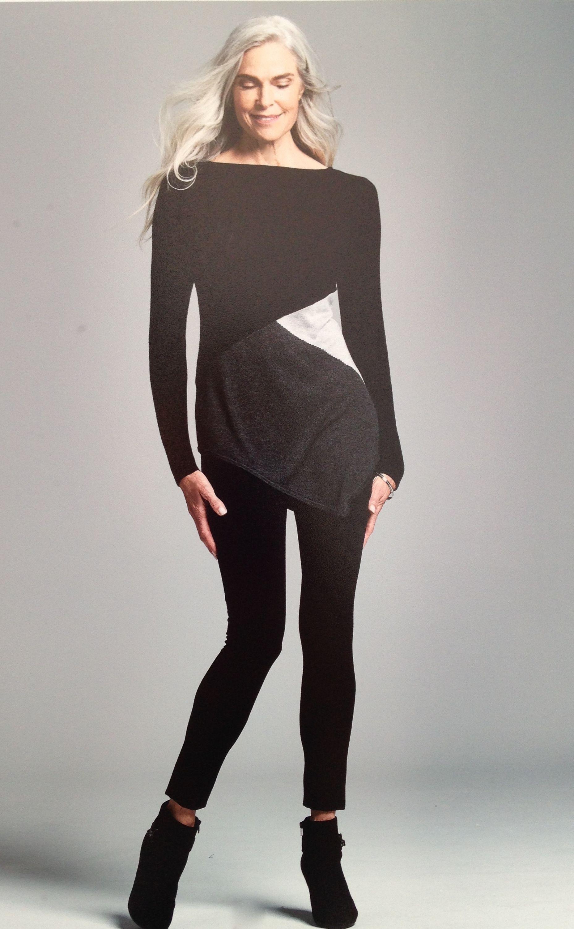 Tunic leggings comfortable clothing long gray hair Roxanne Gould ...