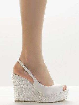 6584a416 alpargata de esparto con cuña blanca forma pep toe   zapatos ...