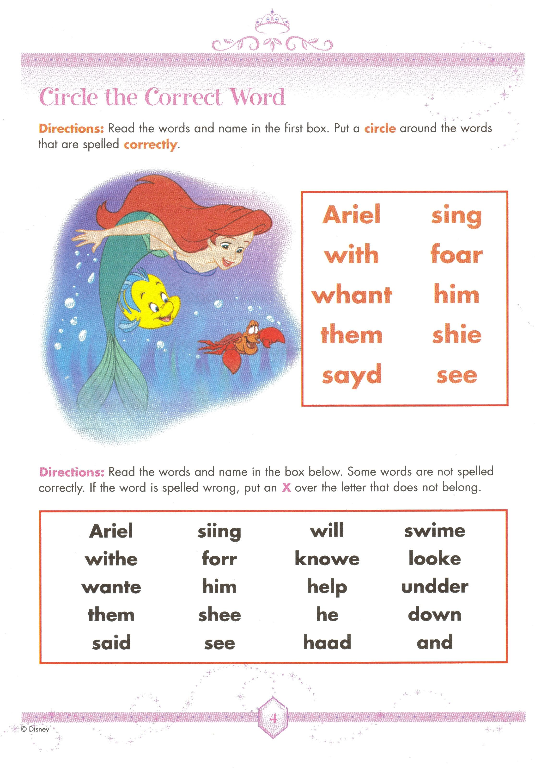 Disney Homeschool Worksheets I Know My Daughter Will Love Spelling With Ariel