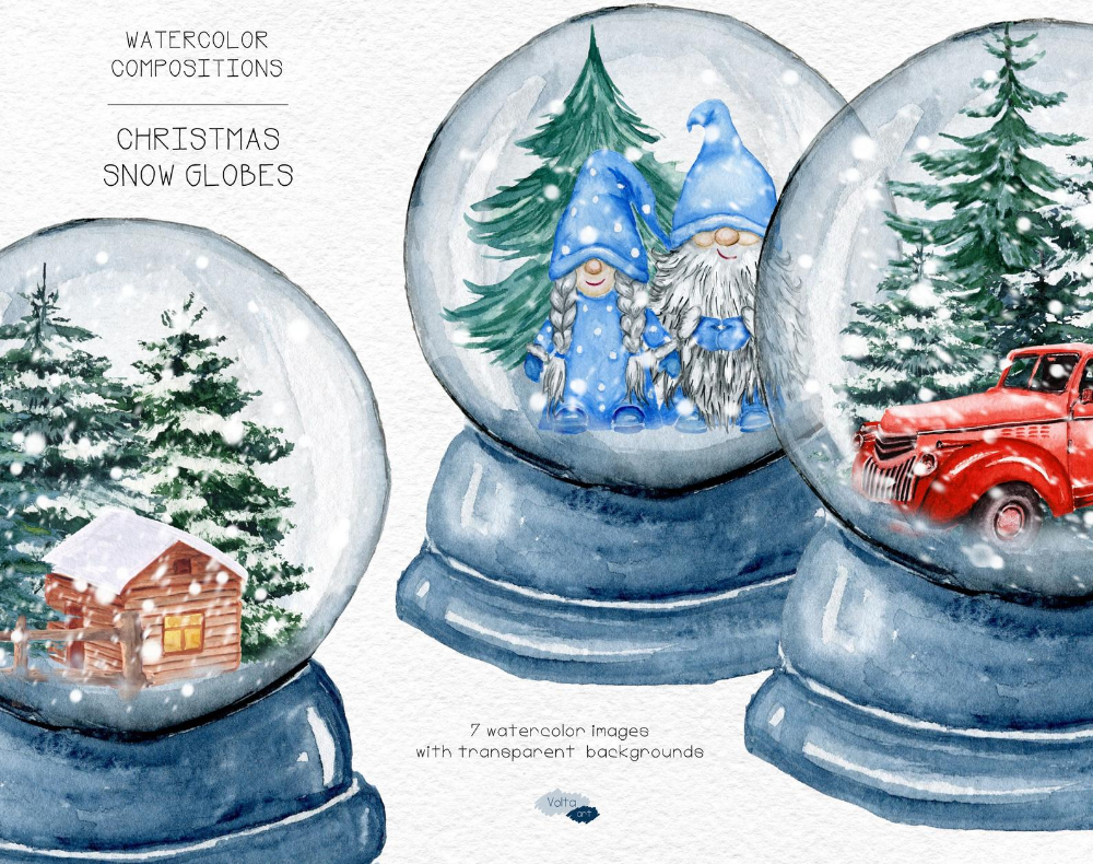 Christmas Watercolor Blue Snow Globe Gnomes Png Clipart Red Etsy In 2021 Snow Globes Christmas Watercolor Christmas Snow Globes