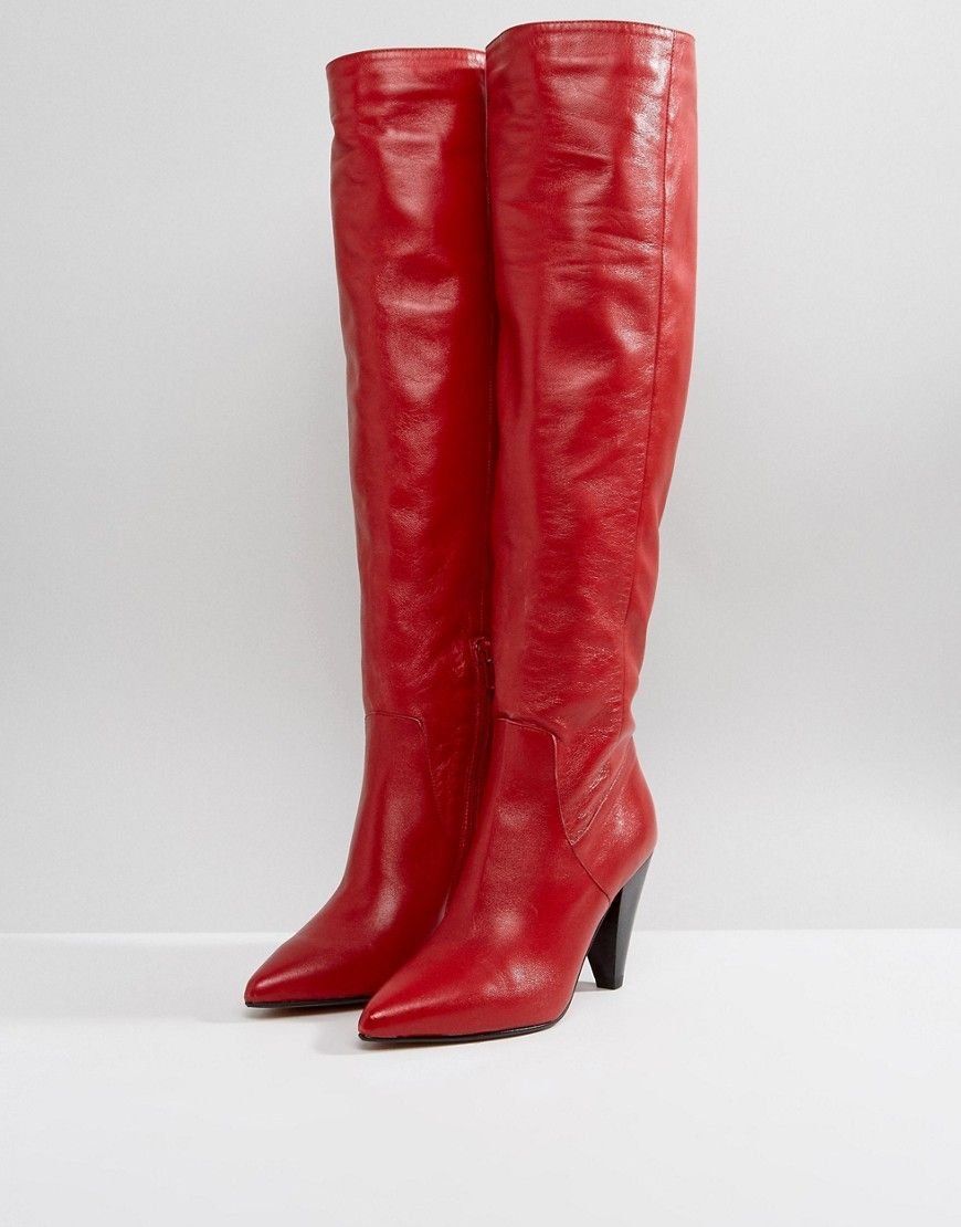 ASOS CARRIE Leather Cone Heel Boots aXgtfy8eu