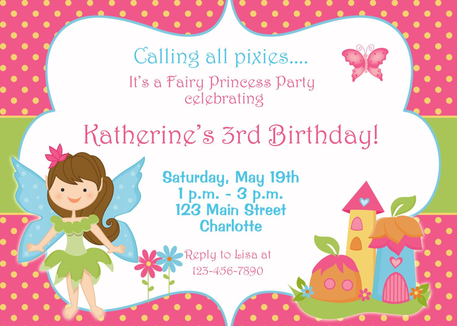 Fairy princess party birthday invitation by TheButterflyPress ...