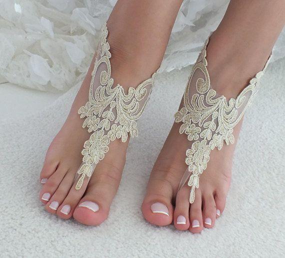 6ddd1495da852 Champagne lace barefoot sandals wedding barefoot Flexible wrist lace  sandals Beach wedding barefoot