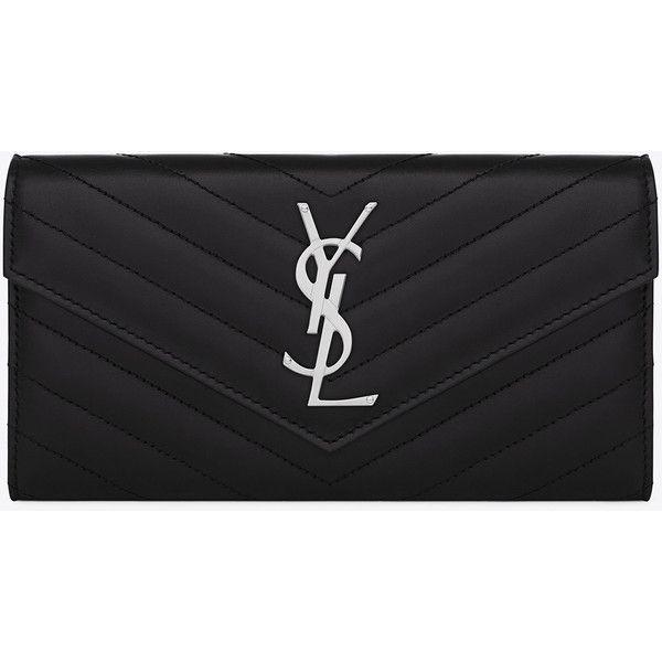 Large Monogram Saint Laurent Flap Wallet (2.735 BRL) ❤ liked on Polyvore featuring bags, wallets, purses, wallet, flap wallet, stitch wallet, monogrammed wallet, stitch bag and monogrammed bags