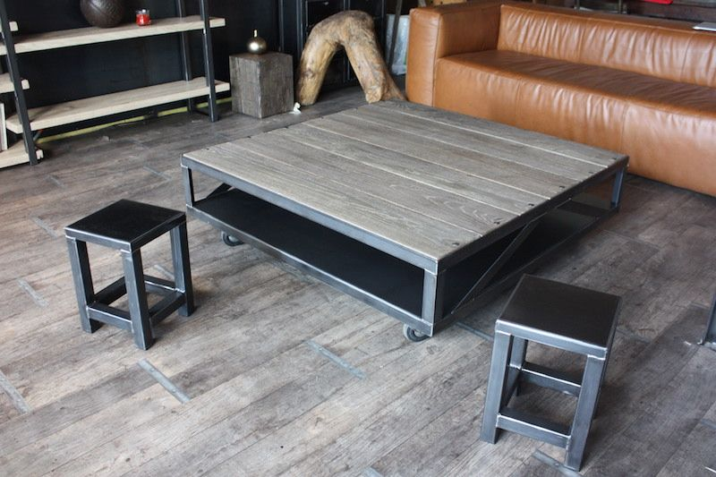 Table Basse Industrielle Bois Gris Acier Micheli Design