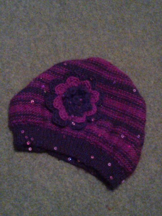 Ladies' knitted hat pattern with crocheted flower. by GillBux on Etsy, £3.00