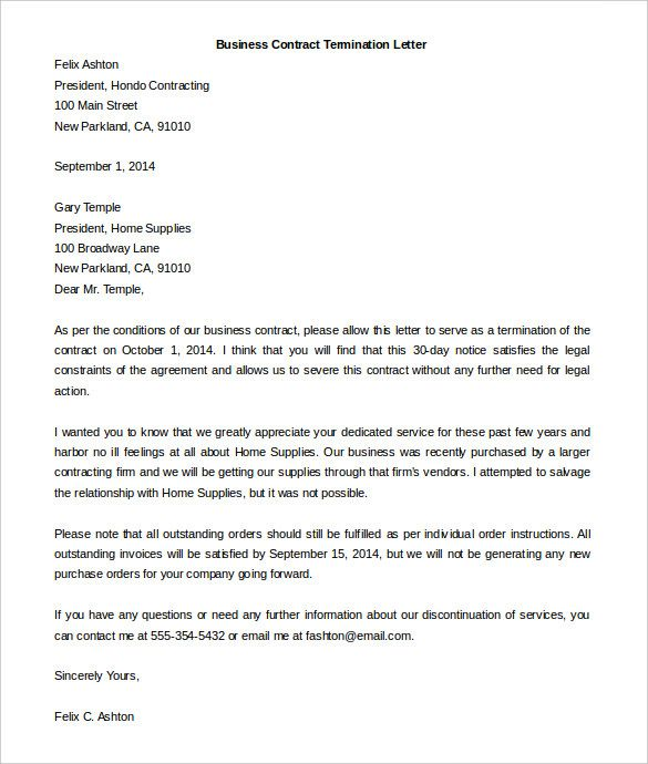Termination Letter Template template Pinterest Letter - sample contractor agreement