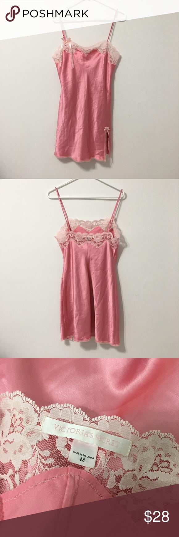 Victoria Secret Light Pink Slip Dress With Lace Lace Dress Slip Dress Clothes Design [ 1740 x 580 Pixel ]
