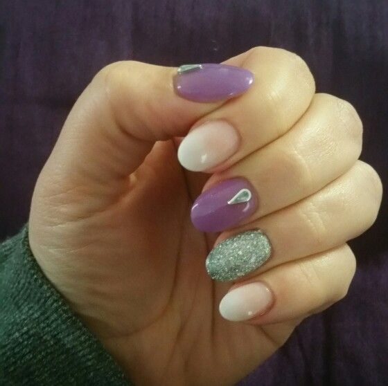 Almond shape acrylic nails. Purple, white tip fade, silver glitter ...