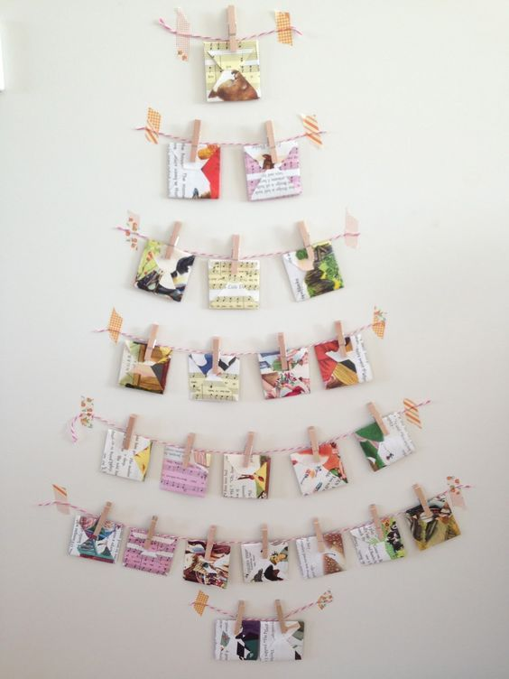 Christmas Cards Hanging On Strings