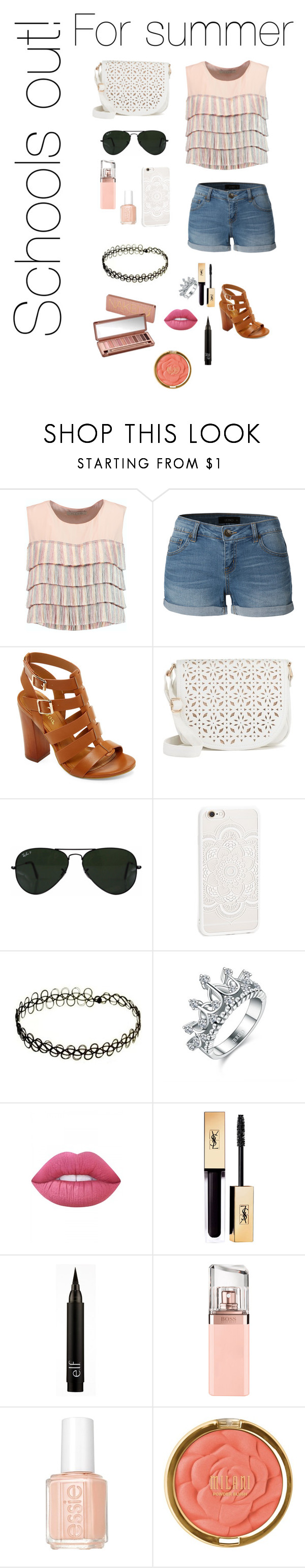 """School is out for the summer"" by addiebdreamgirl ❤ liked on Polyvore featuring Alexis, LE3NO, Bamboo, Under One Sky, Ray-Ban, Lime Crime, Urban Decay, HUGO, Essie and Milani"