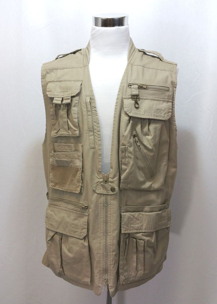 add881446e0a BANANA REPUBLIC Men s Photographer Journalist Safari Vest Size L Large  Khaki  BananaRepublic