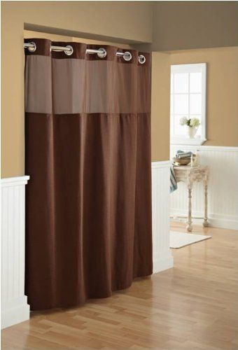 Hookless Fabric Diamond Pique Shower Curtain With Snapin Liner Brown Want To Know More Click On The Image