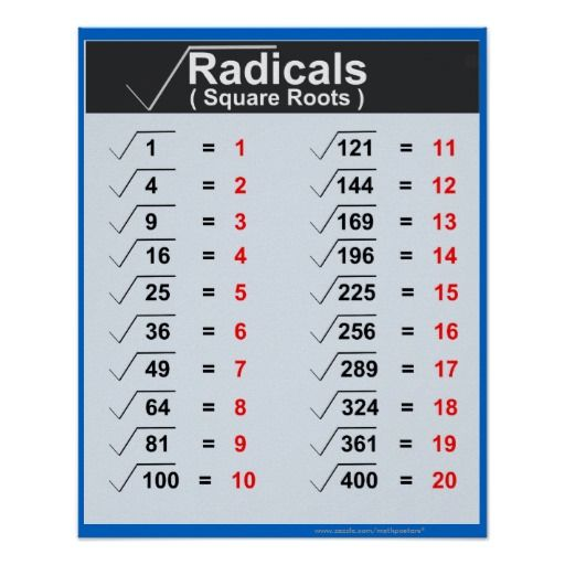Radicals Square Roots Posters Zazzle Com Square Roots Basic Math Basic Algebra